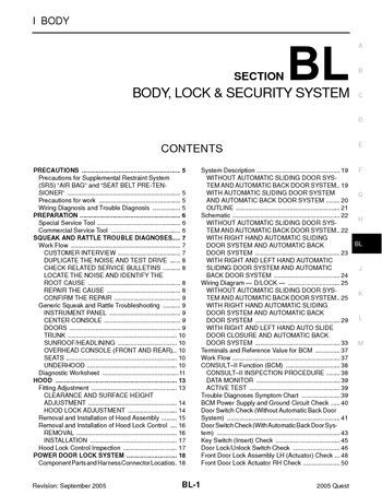 2005 Nissan Quest - Body, Lock  Security System (Section BL) - PDF