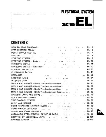 1984 Nissan 300ZX - Electrical System (Section EL) - PDF Manual (116