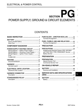 2007 Nissan Altima - Power Supply, Ground  Circuit Elements