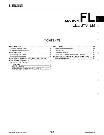 2005 Nissan Armada - Fuel System (Section FL) - PDF Manual (16 Pages)