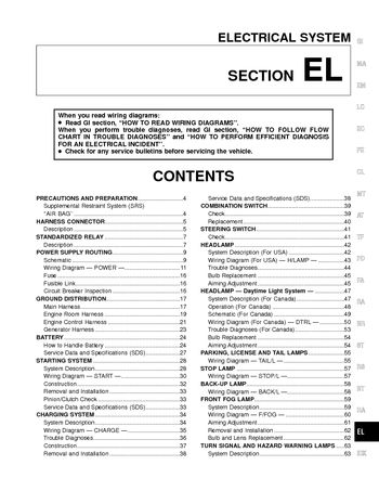 2000 Nissan Frontier - Electrical System (Section EL) - PDF Manual