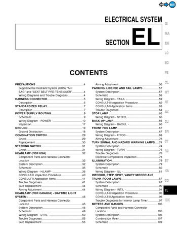 2000 Nissan Maxima - Electrical System (Section EL) - PDF Manual