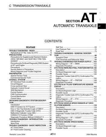 2004 Nissan Maxima - Automatic Transmission (Section AT) - PDF