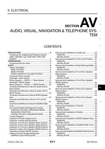 2007 Nissan Murano - Audio Visual System (Section AV) - PDF Manual