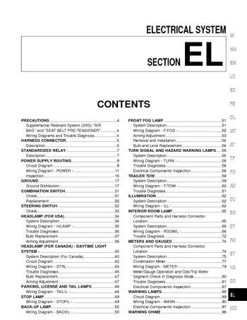 2001 Nissan Xterra - Electrical System (Section EL) - PDF Manual