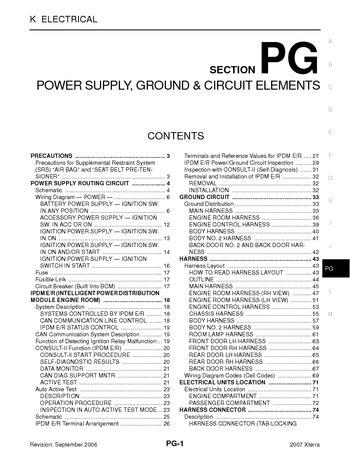 2007 Nissan Xterra - Power Supply, Ground  Circuit Elements