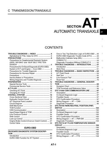 2004 Nissan X-Trail - Automatic Transmission (Section AT) - PDF