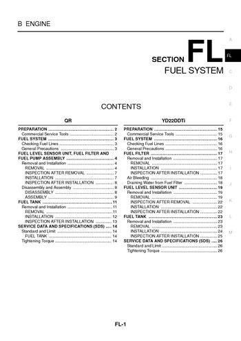 2005 Nissan X-Trail - Fuel System (Section FL) - PDF Manual (26 Pages)