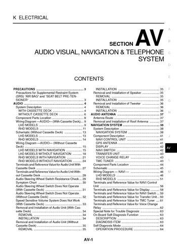 2006 Nissan X-Trail - Audio Visual System (Section AV) - PDF Manual