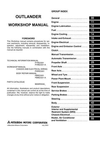 2006 Mitsubishi Outlander - Workshop Manual - PDF (2806 Pages)