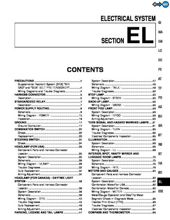2000 Infiniti QX4 - Electrical System (Section EL) - PDF Manual (362