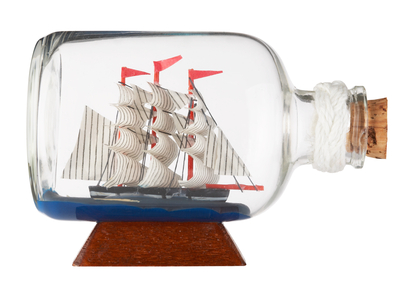bottle with sailing ship inside