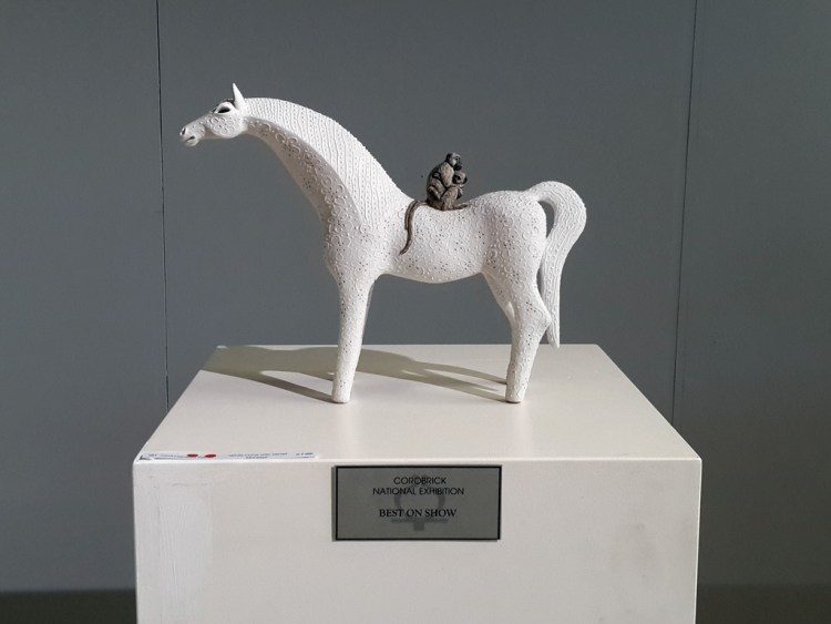 White Horse with Vervet Monkeys (National Ceramics 2014 winner – sold)
