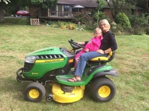 Carol & Eliza on Tractor