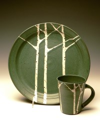 Birch trees, Spruce trees and Bubble Mountain Dinnerware ...