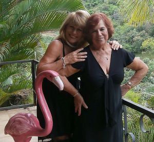 Micki and Carole ready for the theater. Flamingo stayed home!