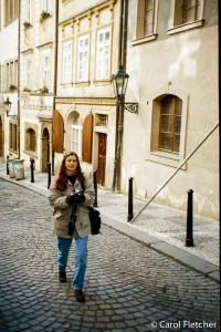 Carol on the walk up to Prague Castle