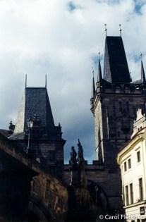 Gothic buildings at Charles Bridge, Prague