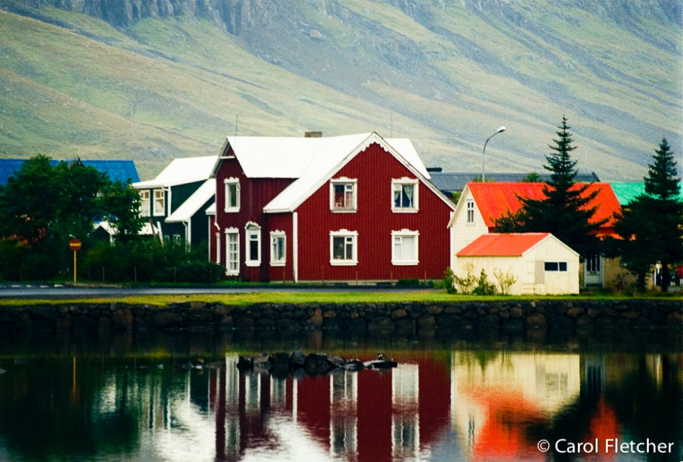 Tin houses reflect in Seydisfjordur