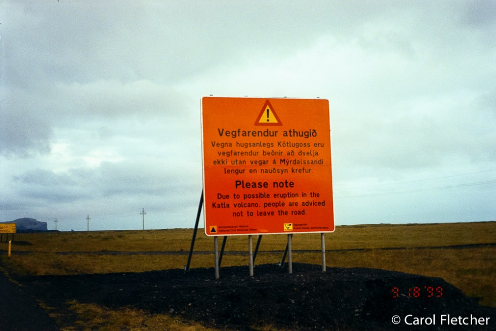 Katla warning sign