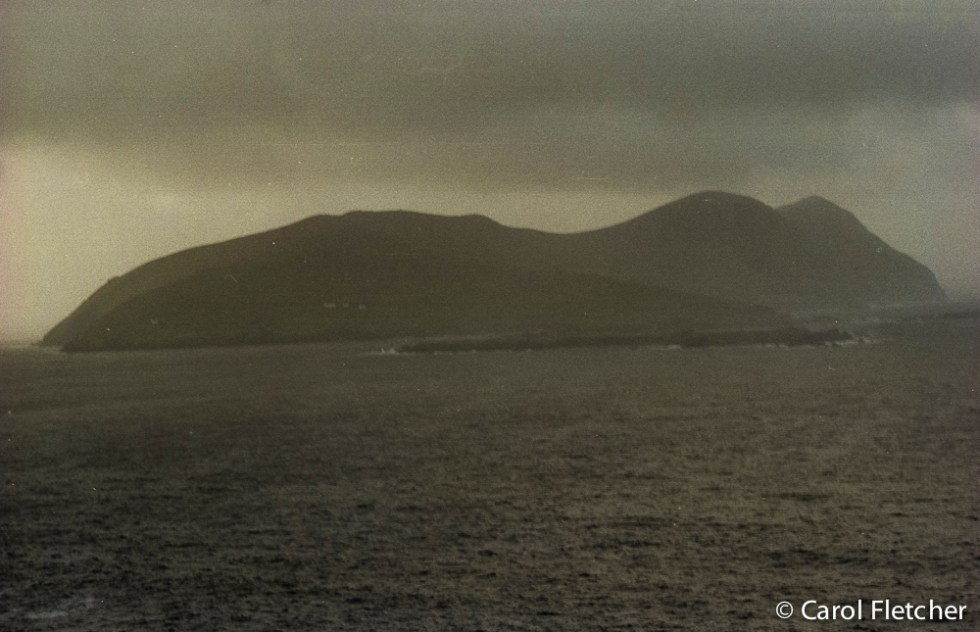 The Great Blasket: some deserted homes barely visible
