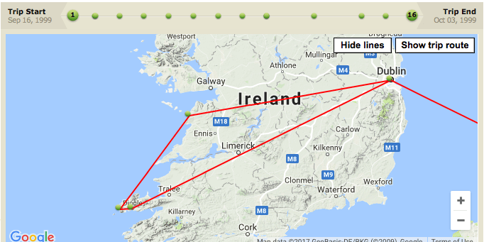 Our planned route in Eire