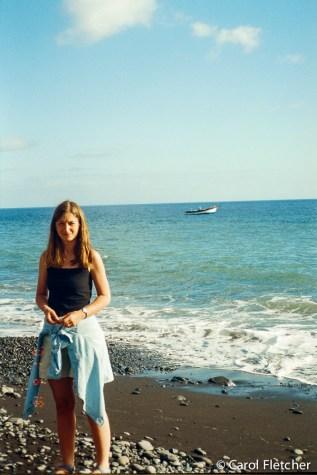 Carol collecting sea glass at Funchal beach