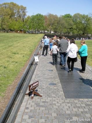 The Vietnam Veterans Memorial, at the beginning before escalation