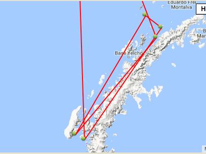 The Antarctic trip route