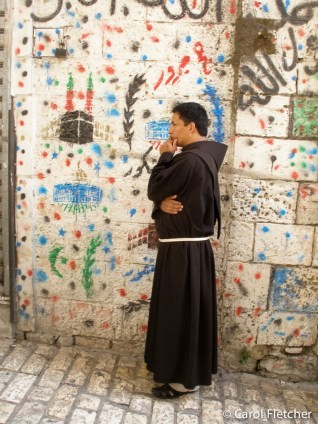 Monk and graffiti