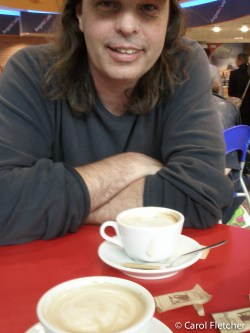 Bryan. Cappuccinos in Rome's FCO airport waiting for our flight to Venice