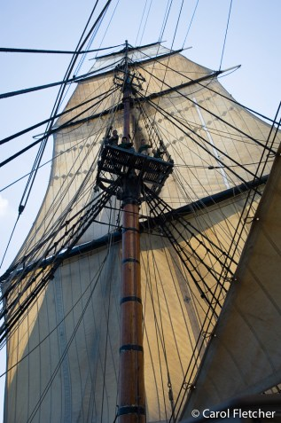 The tall sails of the HMS Bounty