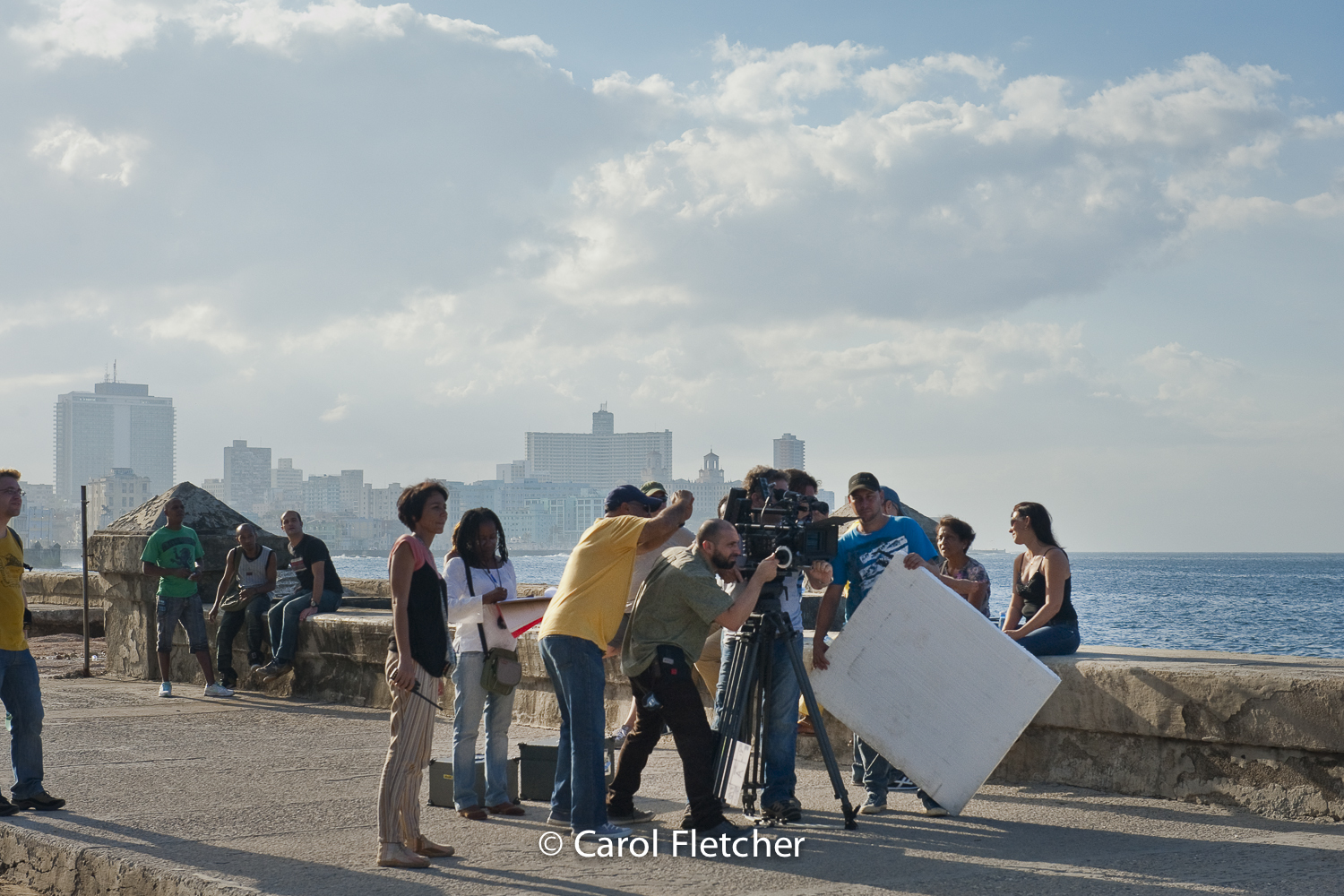 filming video malecon cuba havana production camera