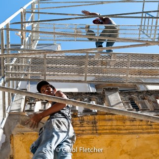 construction labor worker bricks tuckpoint scaffolding havana cuba