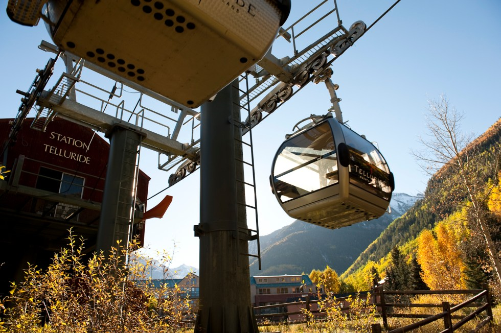 The gondola goes from Mountain Village up and over the mountain to Telluride in about 15 magic minutes.