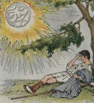 The sun strips the traveler of his cloak, illustrated by Milo Winter in a 1919 Aesop anthology.