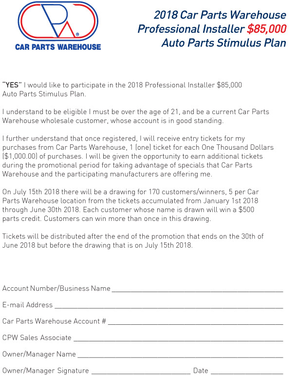 2018-Installer-Stimulus-Sign-Up-Sheet-2 - Car Parts Warehouse