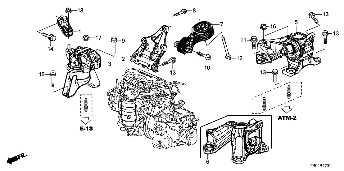 2012 honda civic motor mount diagram