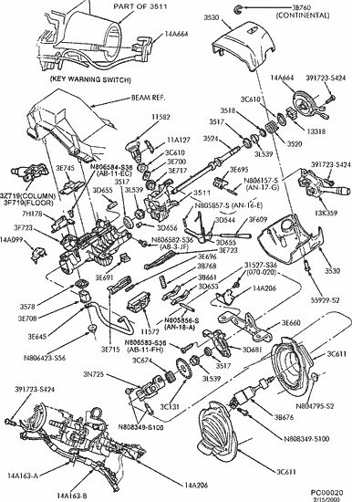 ford taurus steering column diagram