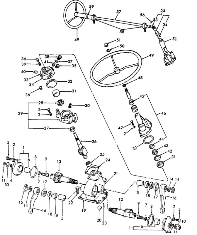 ford 3000 tractor steering parts diagram