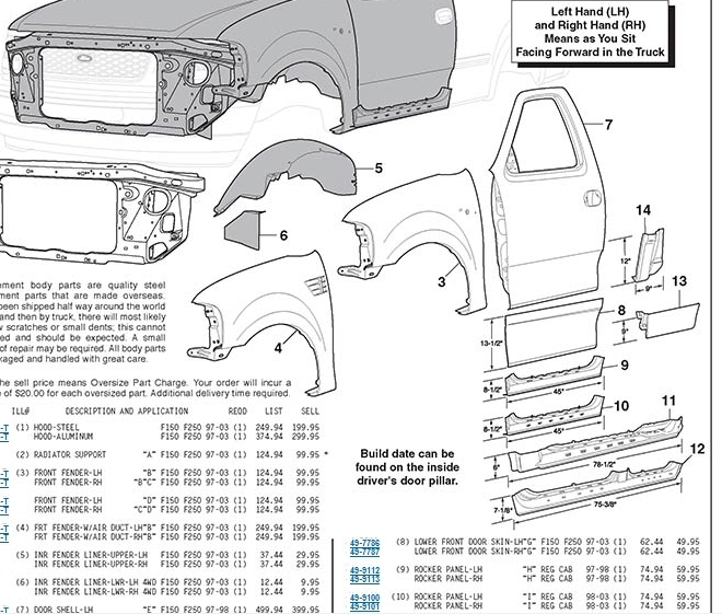 ford f 150 door parts diagram 2001