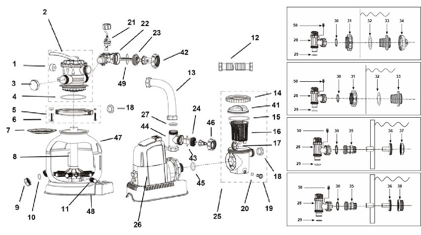 intex sand filter diagram