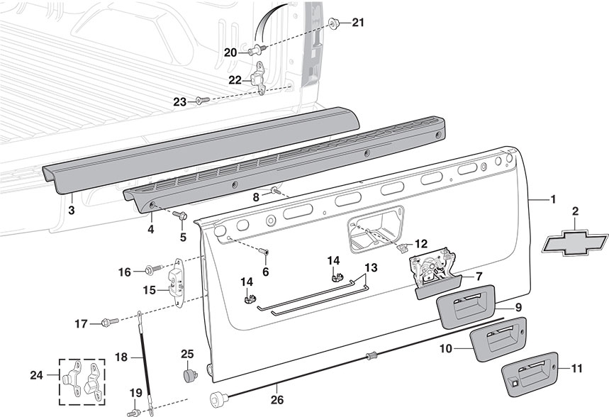 2008 chevy tailgate parts diagram