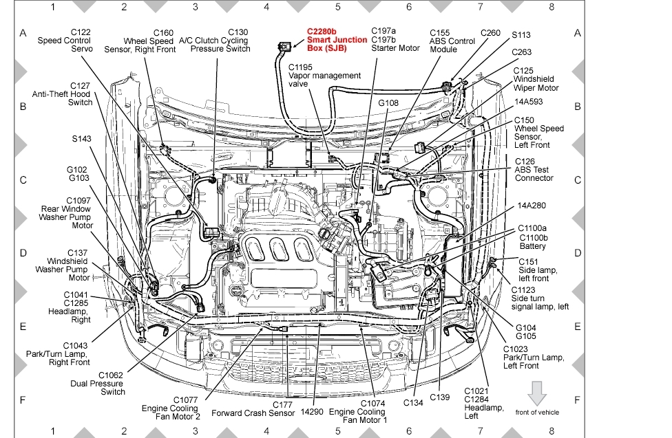 2006 ford escape engine compartment diagram