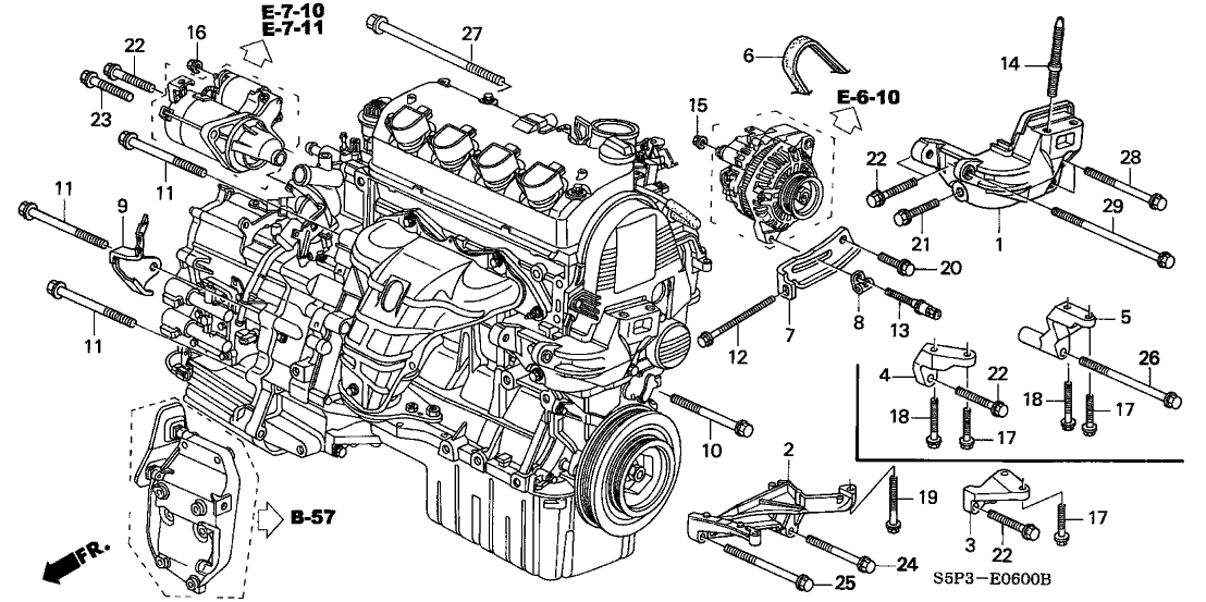 2004 honda accord engine mount diagram
