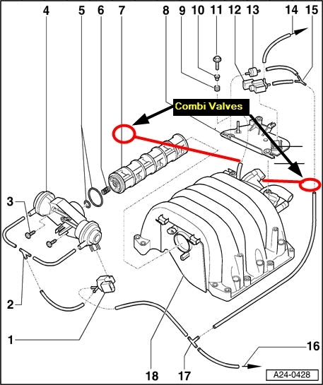 audi a4 engine diagram showing location of divertor valve