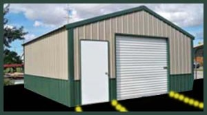 Steel Buildings A-Frame Style Garage two Tone Tan on Green
