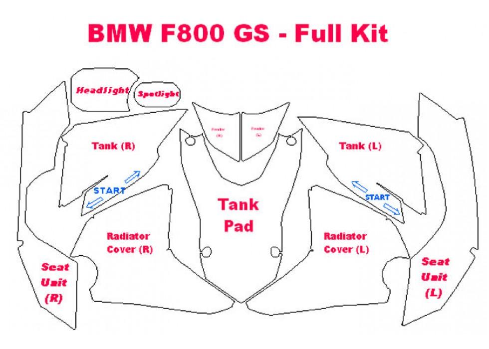 2013-2016 BMW F800 GS 3M Scotchgard Clear Bra Paint Protection