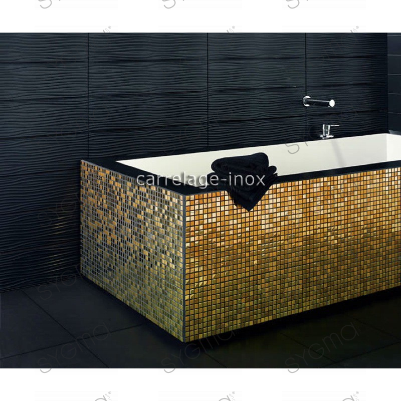Carrelage Inox Dore Mosaique Faience Gold Mix 15 - Mosaique Faience