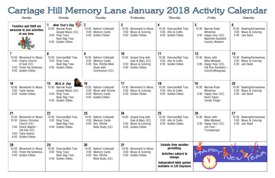 Activity Calendar - January 2018 - Carriage Hill Health  Rehab